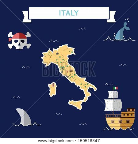 Flat Treasure Map Of Italy. Colorful Cartoon With Icons Of Ship, Jolly Roger, Treasure Chest And Ban