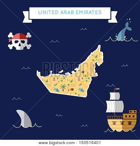 Flat Treasure Map Of United Arab Emirates. Colorful Cartoon With Icons Of Ship, Jolly Roger, Treasur