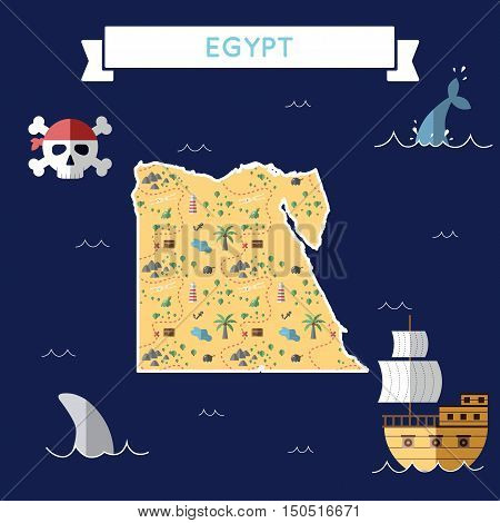 Flat Treasure Map Of Egypt. Colorful Cartoon With Icons Of Ship, Jolly Roger, Treasure Chest And Ban