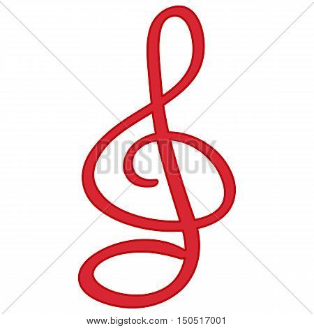 red treble clef  vector symbol isolated on white background