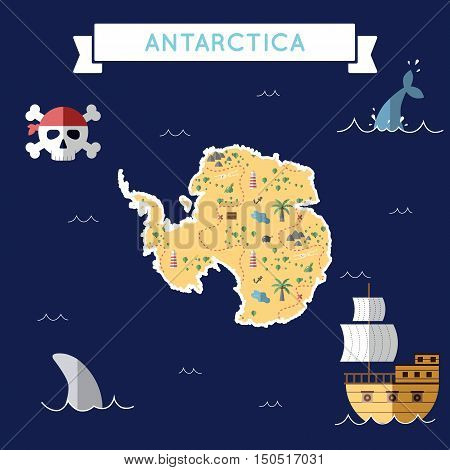 Flat Treasure Map Of Antarctica. Colorful Cartoon With Icons Of Ship, Jolly Roger, Treasure Chest An