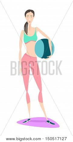 Beautiful Young Asian Woman Standing Holding Fitness Ball Wearing Sport Clothing Bra And Tights At G