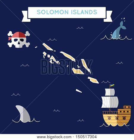 Flat Treasure Map Of Solomon Islands. Colorful Cartoon With Icons Of Ship, Jolly Roger, Treasure Che