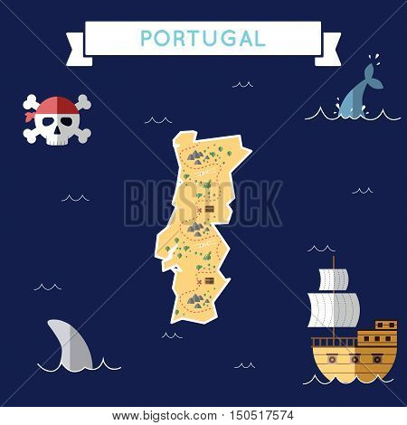 Flat Treasure Map Of Portugal. Colorful Cartoon With Icons Of Ship, Jolly Roger, Treasure Chest And