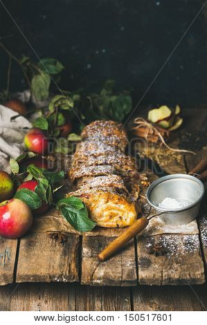 Apple strudel cake with cinnamon, sugar powder and fresh apples on rustic wooden table background, selective focus, copy space, vertical composition