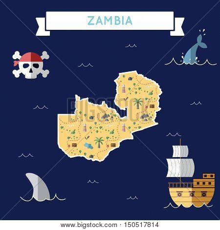 Flat Treasure Map Of Zambia. Colorful Cartoon With Icons Of Ship, Jolly Roger, Treasure Chest And Ba