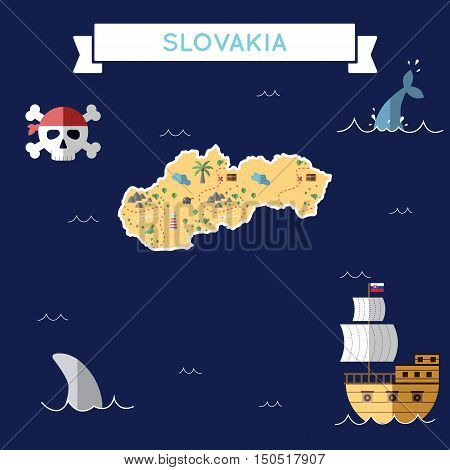 Flat Treasure Map Of Slovakia. Colorful Cartoon With Icons Of Ship, Jolly Roger, Treasure Chest And