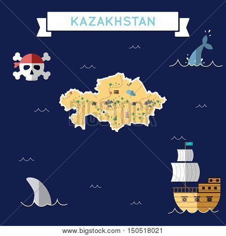 Flat Treasure Map Of Kazakhstan. Colorful Cartoon With Icons Of Ship, Jolly Roger, Treasure Chest An