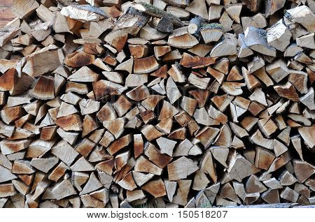 Pile of stacked firewood prepared for winter