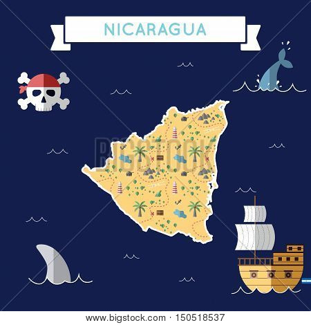 Flat Treasure Map Of Nicaragua. Colorful Cartoon With Icons Of Ship, Jolly Roger, Treasure Chest And