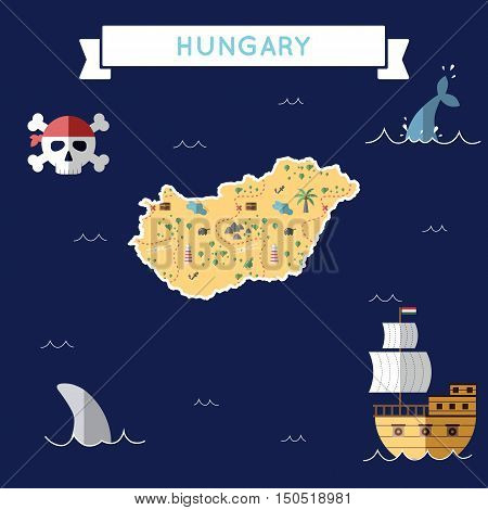 Flat Treasure Map Of Hungary. Colorful Cartoon With Icons Of Ship, Jolly Roger, Treasure Chest And B