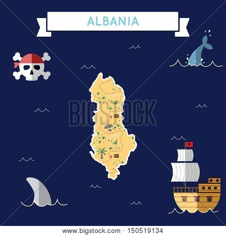 Flat Treasure Map Of Albania. Colorful Cartoon With Icons Of Ship, Jolly Roger, Treasure Chest And B