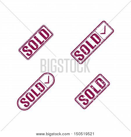 Set of multicolored rectangular stamps sold grungy icons isolated on white background vector illustration.