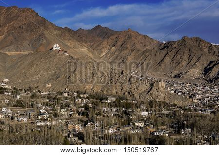 View of Leh city the capital of Ladakh Northern India. Leh city is located in the Indian Himalayas at an altitude of 3500 meters.