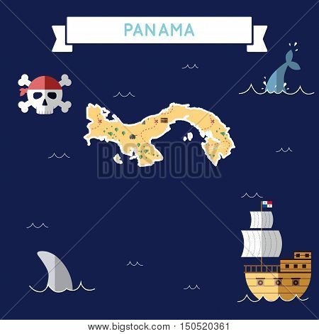 Flat Treasure Map Of Panama. Colorful Cartoon With Icons Of Ship, Jolly Roger, Treasure Chest And Ba