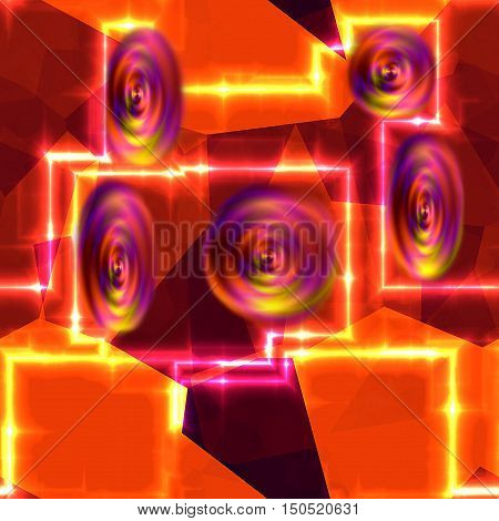 Abstract generated background of red, yellow and pink geometric shapes, glowing blurred lines and rotating circular objects. Red, orange, pink and yellow futuristic background with electrical discharges