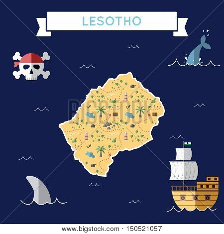 Flat Treasure Map Of Lesotho. Colorful Cartoon With Icons Of Ship, Jolly Roger, Treasure Chest And B