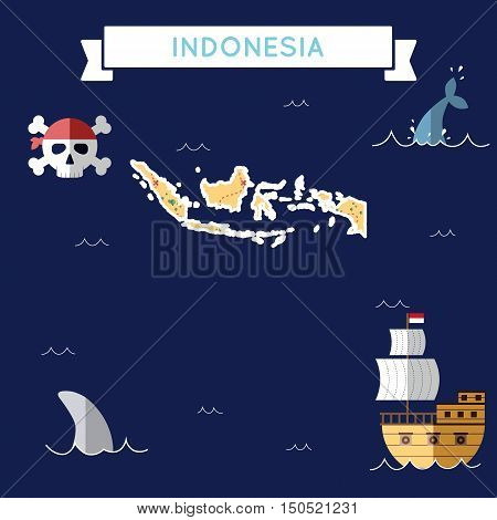 Flat Treasure Map Of Indonesia. Colorful Cartoon With Icons Of Ship, Jolly Roger, Treasure Chest And