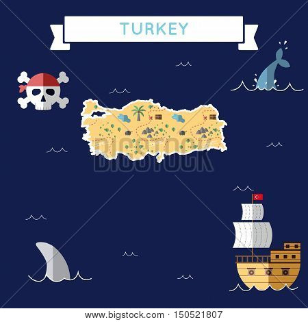 Flat Treasure Map Of Turkey. Colorful Cartoon With Icons Of Ship, Jolly Roger, Treasure Chest And Ba
