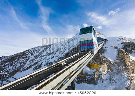 Funicular Going To Kitzsteinhorn Peak