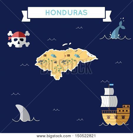 Flat Treasure Map Of Honduras. Colorful Cartoon With Icons Of Ship, Jolly Roger, Treasure Chest And