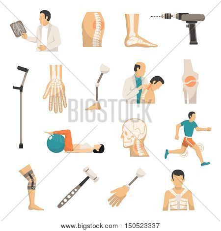 Orthopedics and prosthetics medicine isolated icons with bones of vertebral column arm and foot prosthesis and medical hammer and drill vector illustration