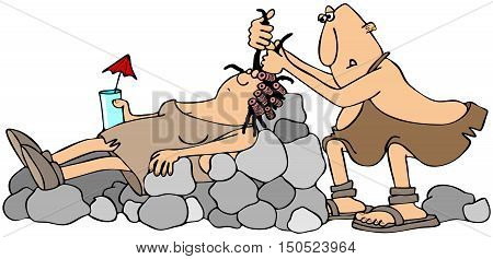 Illustration of a cave woman laying in a rock chair and having her hair done by a caveman hairdresser.