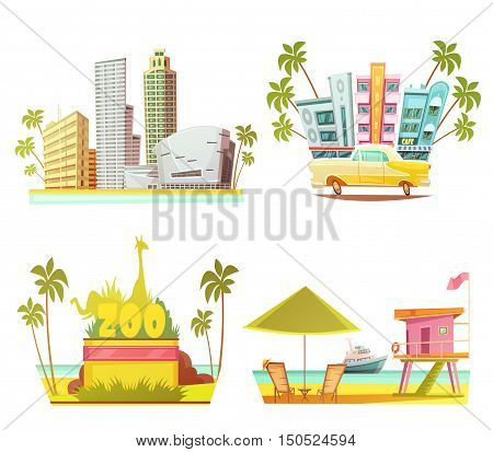 Miami 2x2 design concept with skyscrapers city zoo lifeguard cabin on beach cartoon compositions flat vector illustration
