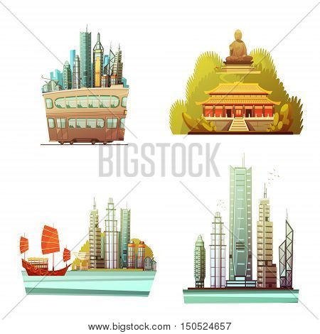 Hong kong 2x2 design concept set of history landmarks modern urban architecture and sea landscape flat vector illustration
