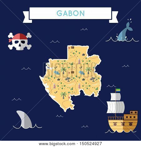 Flat Treasure Map Of Gabon. Colorful Cartoon With Icons Of Ship, Jolly Roger, Treasure Chest And Ban