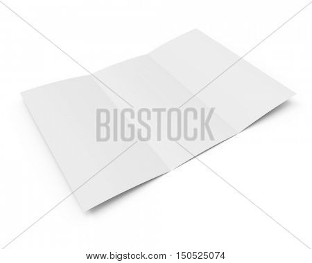 Blank white tri-fold booklet with the shadow isolated on white background. 3D rendering.