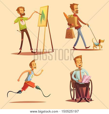Disabled people leading happy life retro cartoon 2x2 flat icons set isolated vector illustration