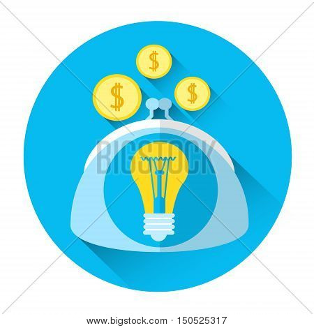 Coin Purse Icon Startup Investment Concept Flat Vector Illustration