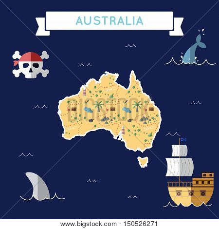 Flat Treasure Map Of Australia. Colorful Cartoon With Icons Of Ship, Jolly Roger, Treasure Chest And