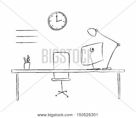 Vector sketch illustration workplace. Black and white interior line. Working place without people. Modern workspace nobody. Laptop pc network table display computer chair lamp coffee shelf.