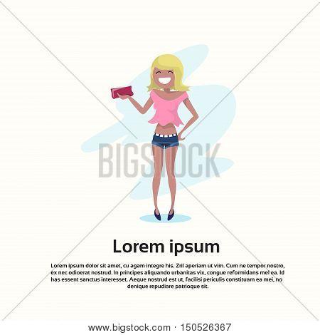 Fashion Woman Wear Dress Happy Smile Cartoon Character Full Length Flat Vector Illustration