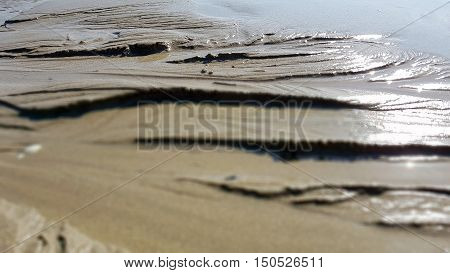 Wet dunes of sand in afternoon sun. Macro shoot with far focus.