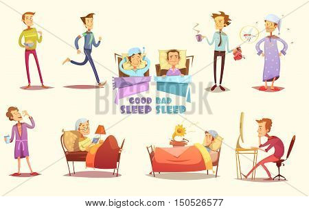 Different causes of good and bad sleep flat icons on light background retro cartoon isolated vector illustration