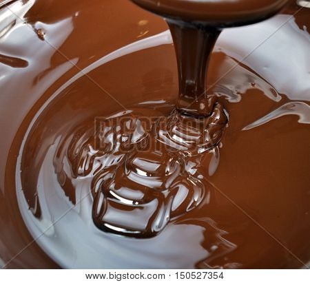 lots of chocolate falling from above in kitchen