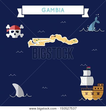 Flat Treasure Map Of Gambia. Colorful Cartoon With Icons Of Ship, Jolly Roger, Treasure Chest And Ba