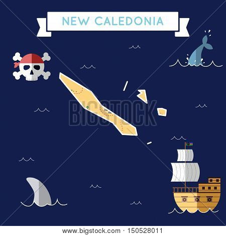 Flat Treasure Map Of New Caledonia. Colorful Cartoon With Icons Of Ship, Jolly Roger, Treasure Chest