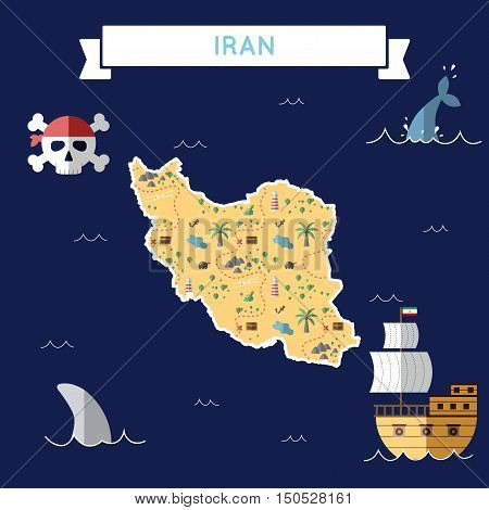 Flat Treasure Map Of Iran, Islamic Republic Of. Colorful Cartoon With Icons Of Ship, Jolly Roger, Tr