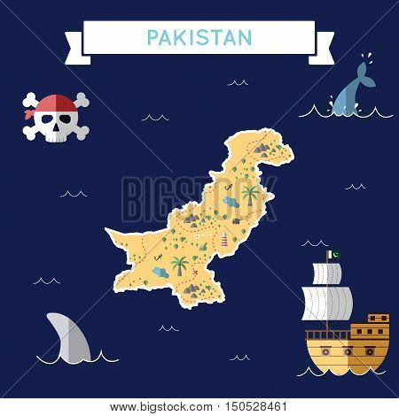 Flat Treasure Map Of Pakistan. Colorful Cartoon With Icons Of Ship, Jolly Roger, Treasure Chest And