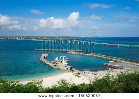 Kurima Bridge of Miyako Island in Okinawa, Japan.