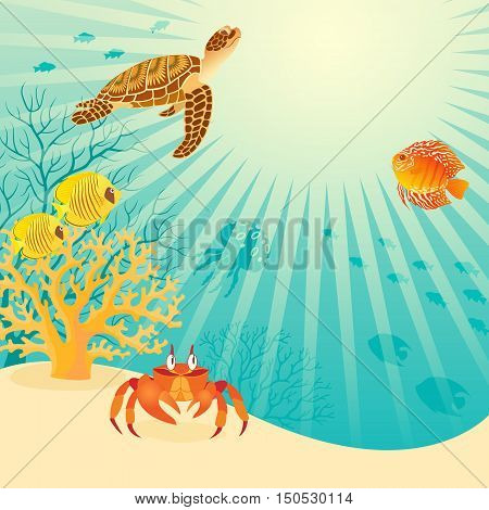 Illustration of underwater life with place for your text. Vector contains opacity mask. EPS 10.