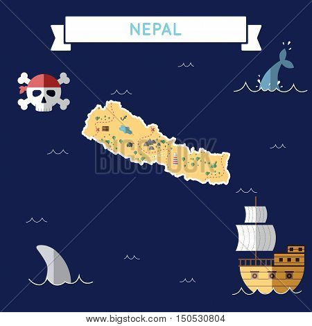 Flat Treasure Map Of Nepal. Colorful Cartoon With Icons Of Ship, Jolly Roger, Treasure Chest And Ban
