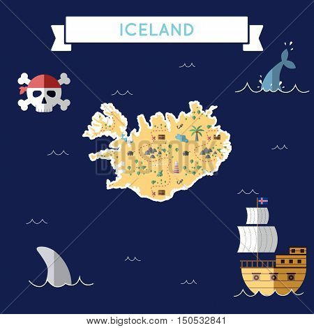 Flat Treasure Map Of Iceland. Colorful Cartoon With Icons Of Ship, Jolly Roger, Treasure Chest And B