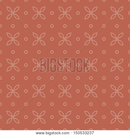 loops pattern 5 / Seamless vector pattern of abstract elements on terracotta background.