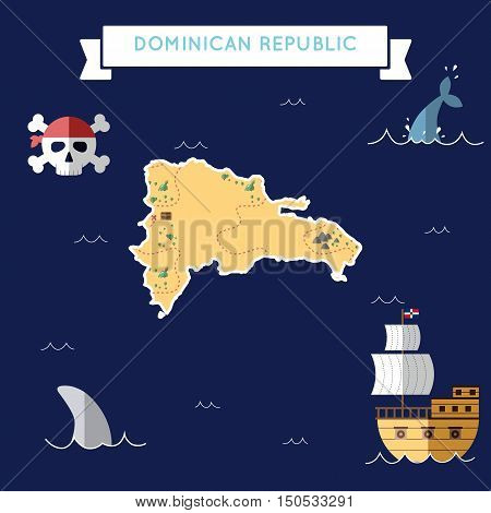 Flat Treasure Map Of Dominican Republic. Colorful Cartoon With Icons Of Ship, Jolly Roger, Treasure