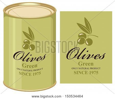 Vector illustration of a tin can with label of green olives